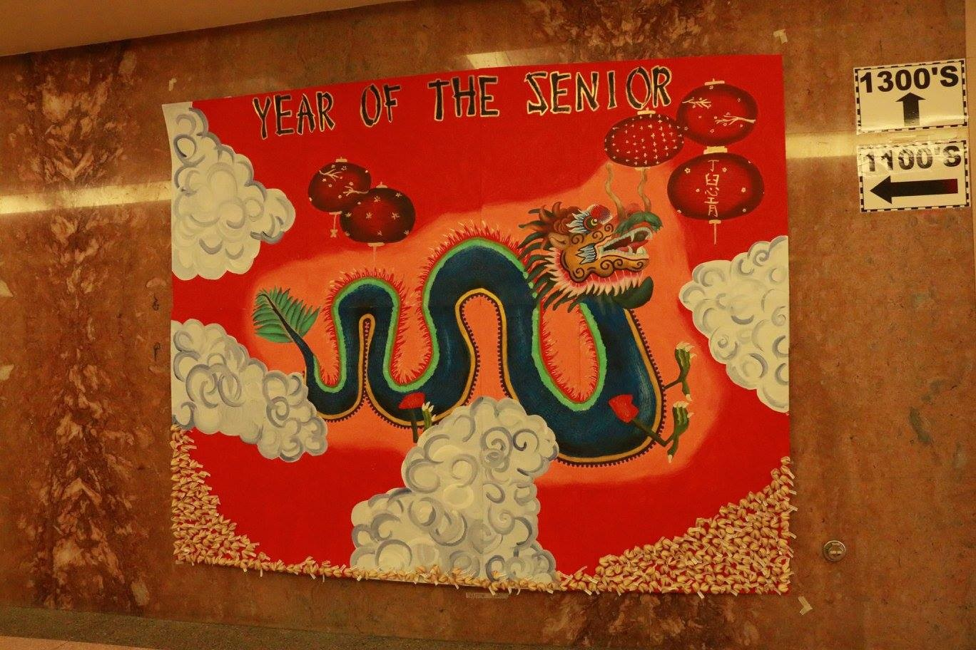 "Seniors won the wall mural competition for their ""Year of the Seniors"" poster."
