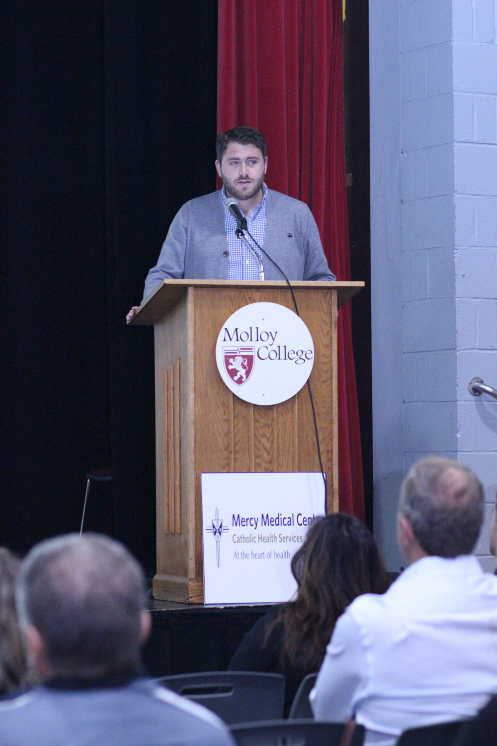 Noah Goldberg spoke to the packed auditorium about losing his father to opioid drug addiction.