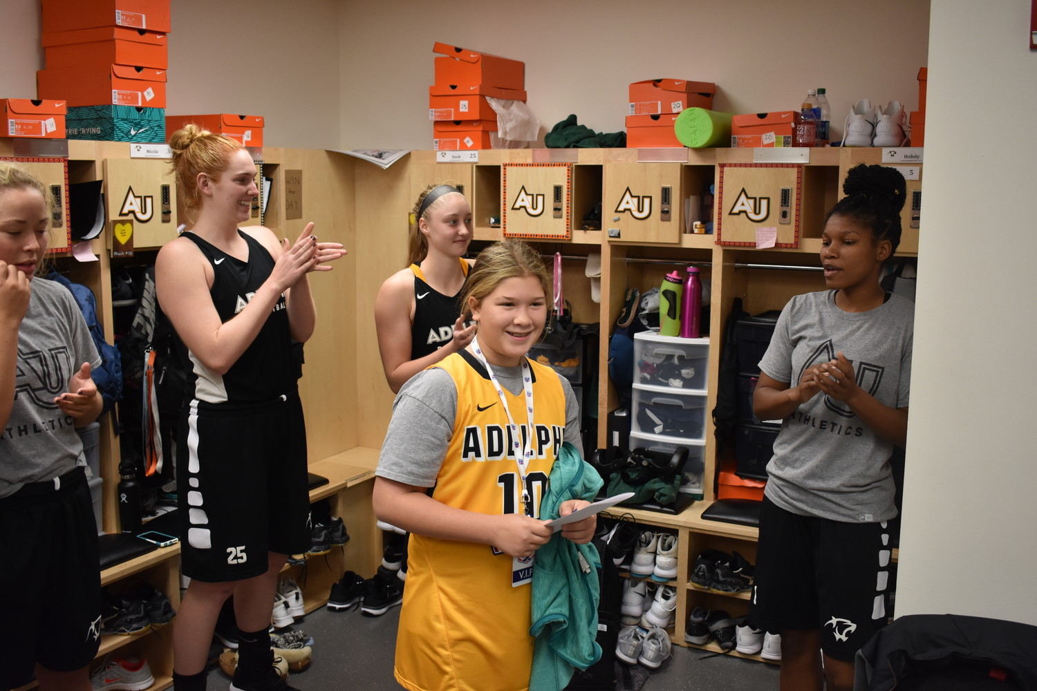 Onorato went to the locker room, where she received her own locker.