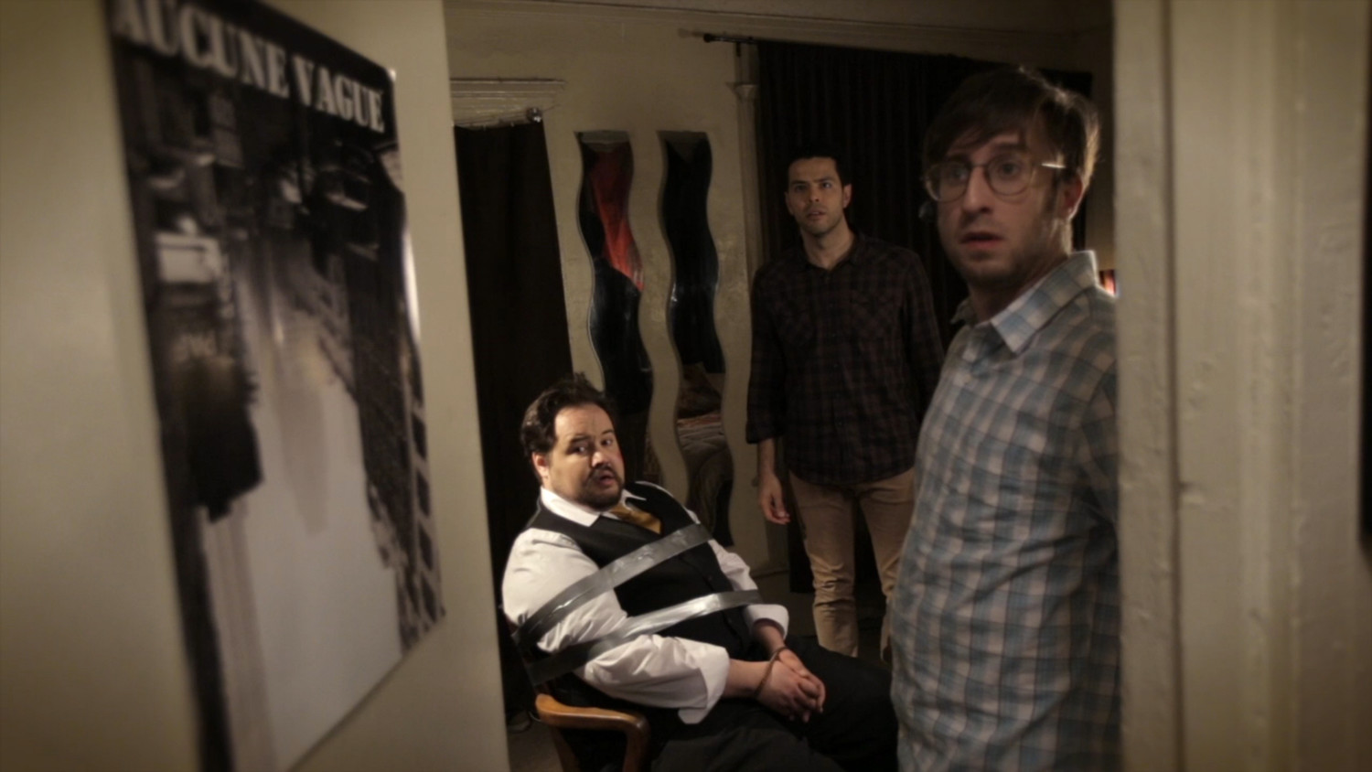 "A still shot from ""The Mix"", a film in which Sal, played by Chris Mollica, and Tim (Chad Jamian) kidnap a brand manager (Brian Silliman), who swindled them."