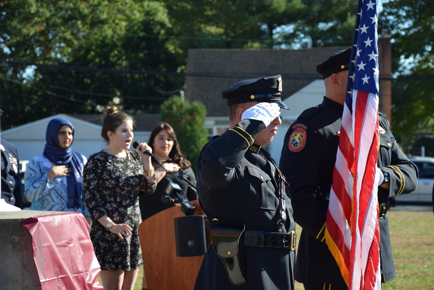 Mepham student Monica Sarduy sang the national anthem.