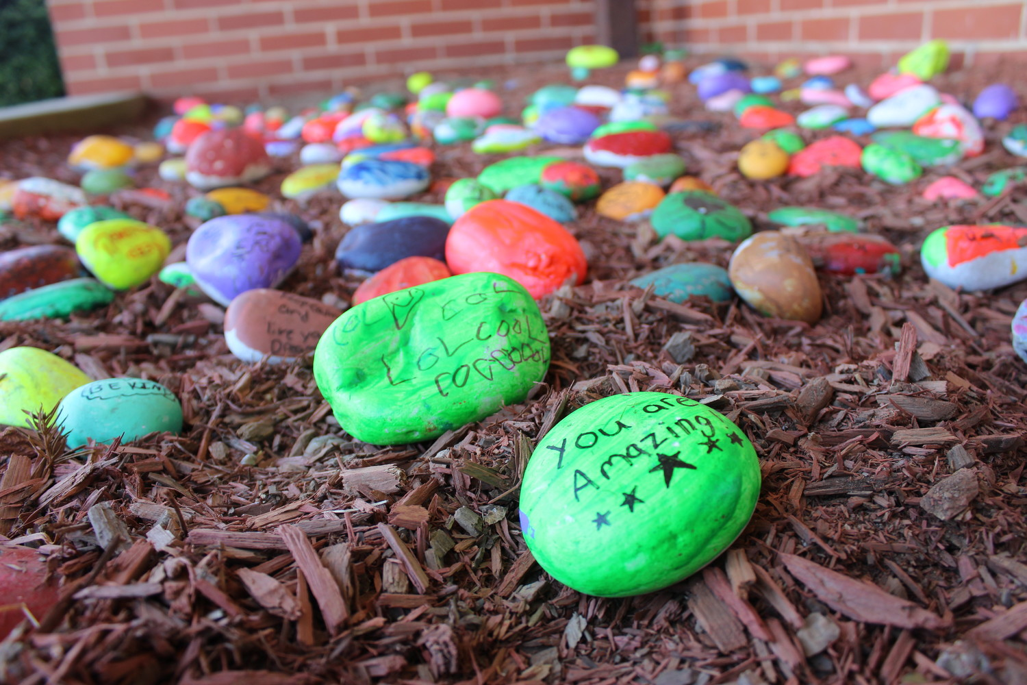 Sixth-grade students painted rocks and inscribed on them uplifting messages before placing them throughout the Bellmore community for residents to find.