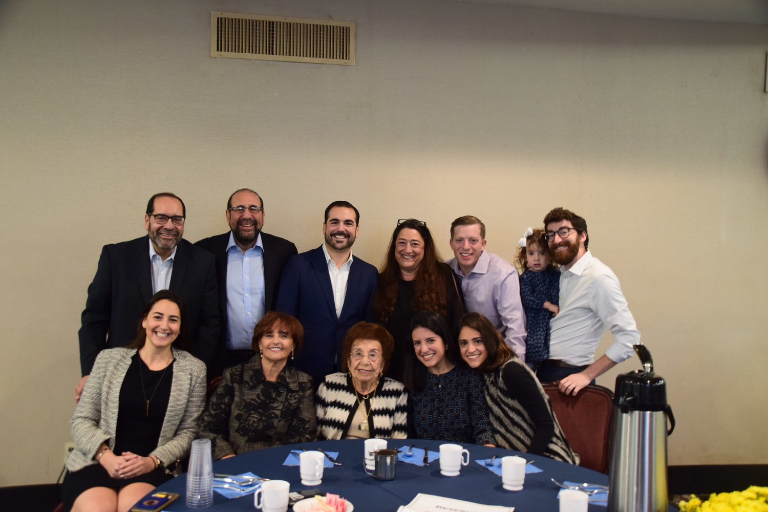 Four generations of Greenbaums gathered to celebrate a century of life for Laura, back row, Mark, Steven, Harrison, and Pamela Greenbaum, Yoni Kranzler, Avery and Josh Stein, front row, Dena, Nyla, and Laura Greenbaum, Lauren Stein, and Devon Kranzler.