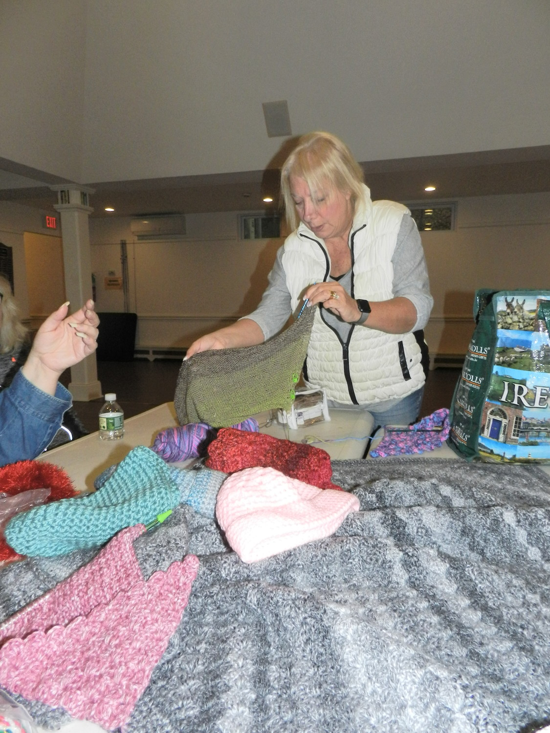 Roseann Fochi, of Bayville, prepared to work on a Knitted Knocker, an alternative breast prosthetic.