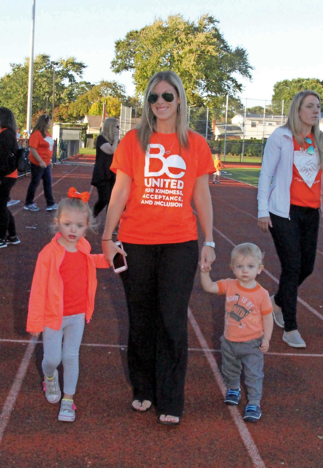 Lindsay Ardito and her children Jenna, 4, and Jace, 1, participated in the walk at Seaford High School.