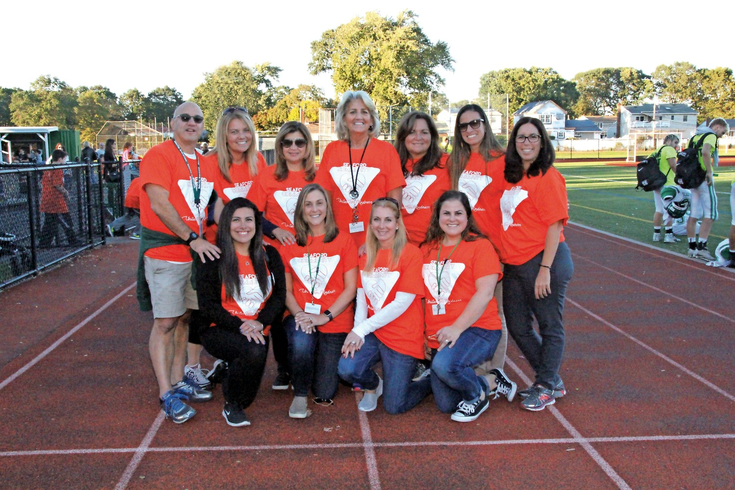 Superintendent Dr. Adele Pecora, third from left, and Seaford Middle School Social Worker Nancy Fitzgerald, center, were among the many district officials who attended the Unity Walk last month.