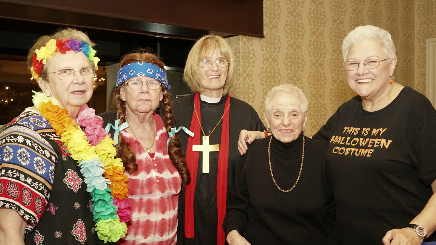 Oceanside Senior Club members Carol Gottcent, left, Catherine Abbate, Ann Dietrick, club President Joan Roppa and Vice President Lucille Fox. Roppa said members look forward to each of the club's luncheons.