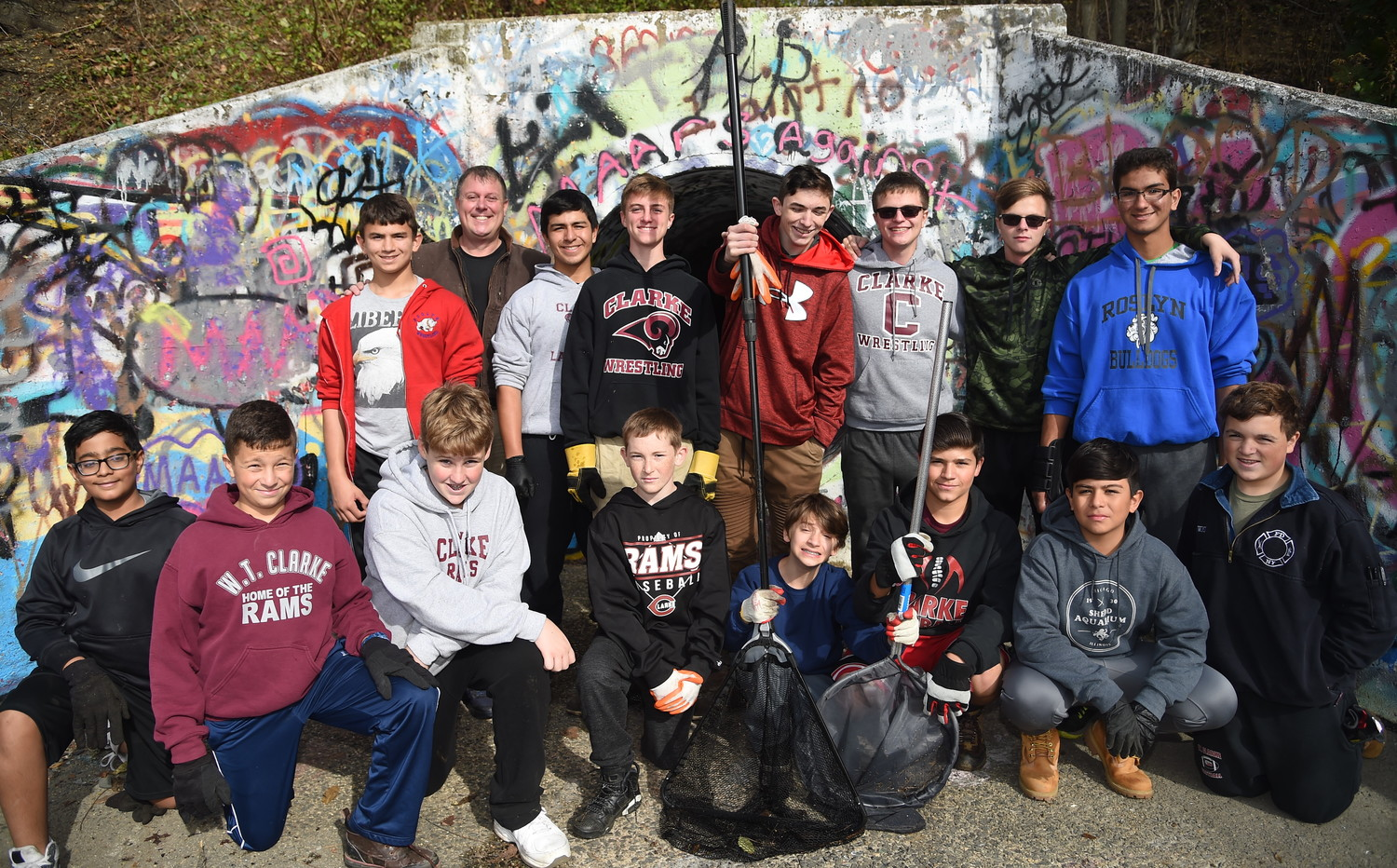 Members of Boy Scouts Troop 469 gathered on Nov. 4 to clean up the bird sanctuary as part of the East Meadow Community Organizations' semi-annual bird sanctuary cleanup.
