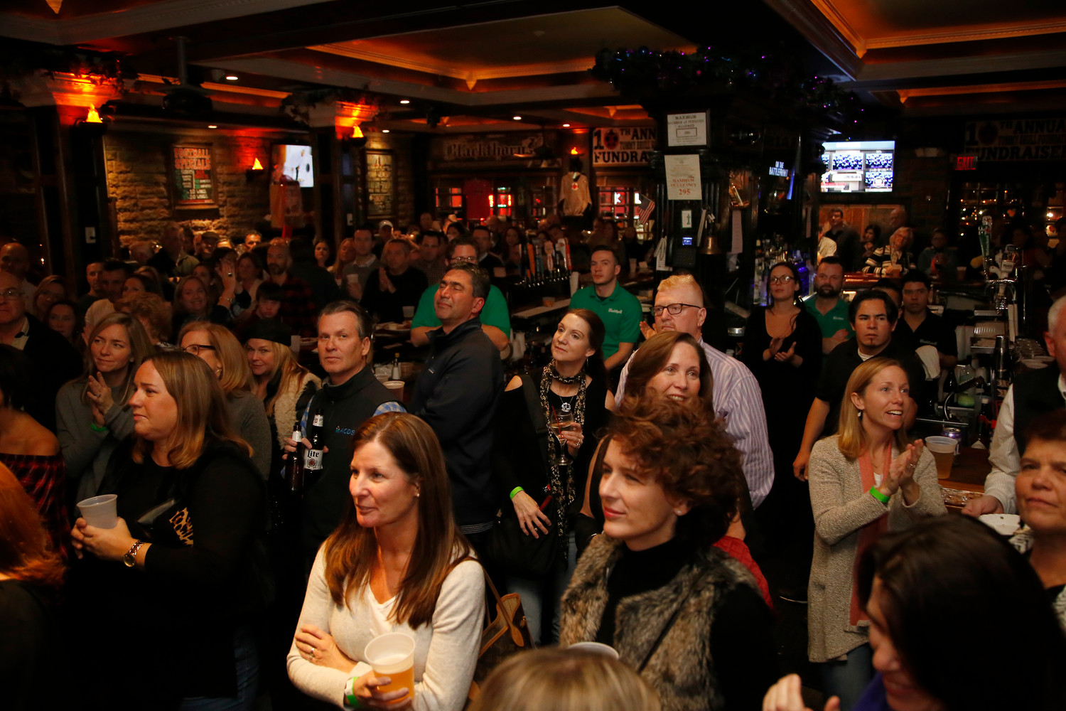 Dozens packed Rockville Centre's Cannon's Blackthorn for the event.