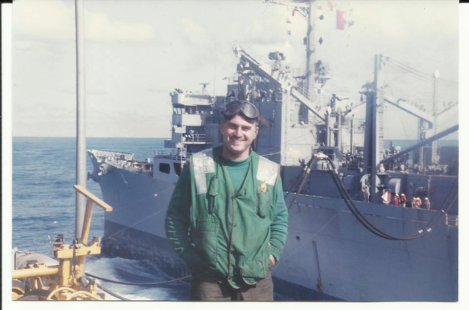 Rockville Centre resident Ed Loud, aboard the USS Saratoga in the early 1990s, where he was responsible for hooking up aircraft to catapults and ensuring a safe launch.