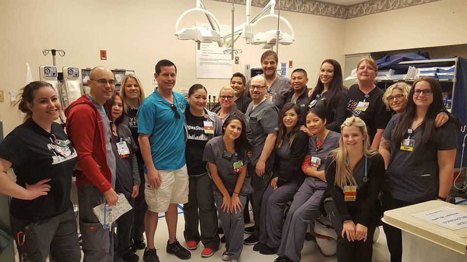 Maher visited Sunrise Hospital's Trauma Emergency Unit in Las Vegas, where many victims and survivors were brought after the shooting. He bought them lunch in honor of Charleston Hartfield, a Las Vegas police officer.