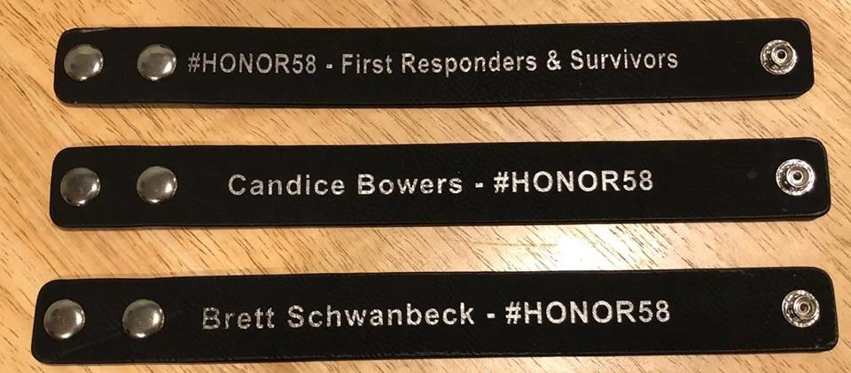 Maher had 58 bracelets engraved with the name of each person that died in the shooting, and an additional one to honor first responders and survivors. He gives them out after doing an act of kindness, and they are meant to be passed along with each good deed.