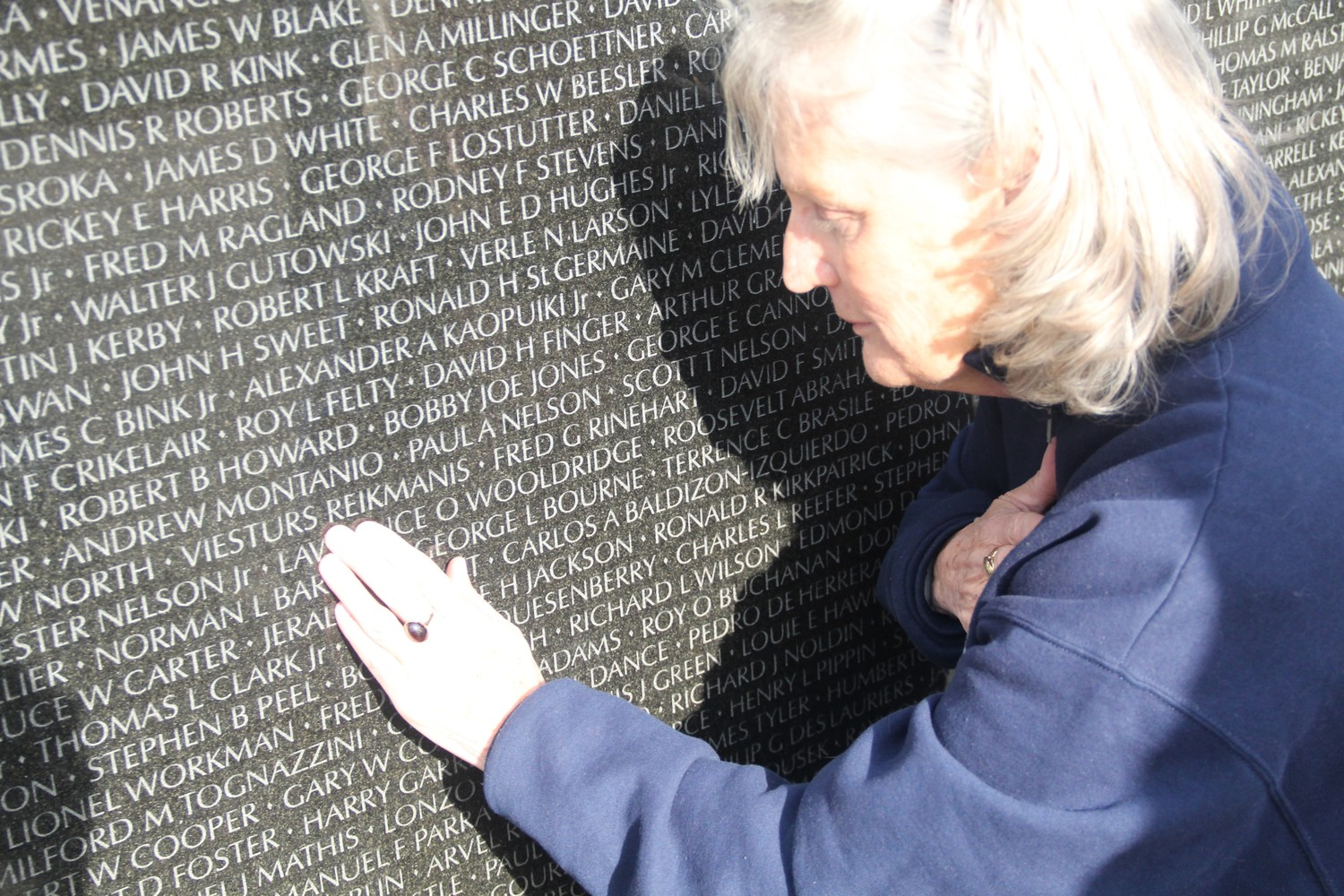 Once Barbara Horn found the name of her childhood friend inscribed on the wall, she ran her fingers over every letter.