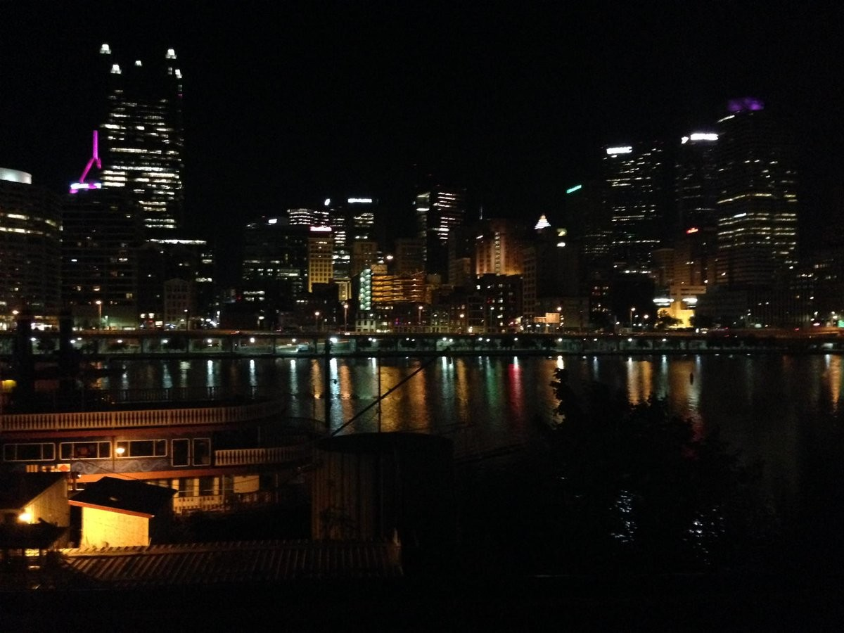 The Pittsburgh skyline at night.