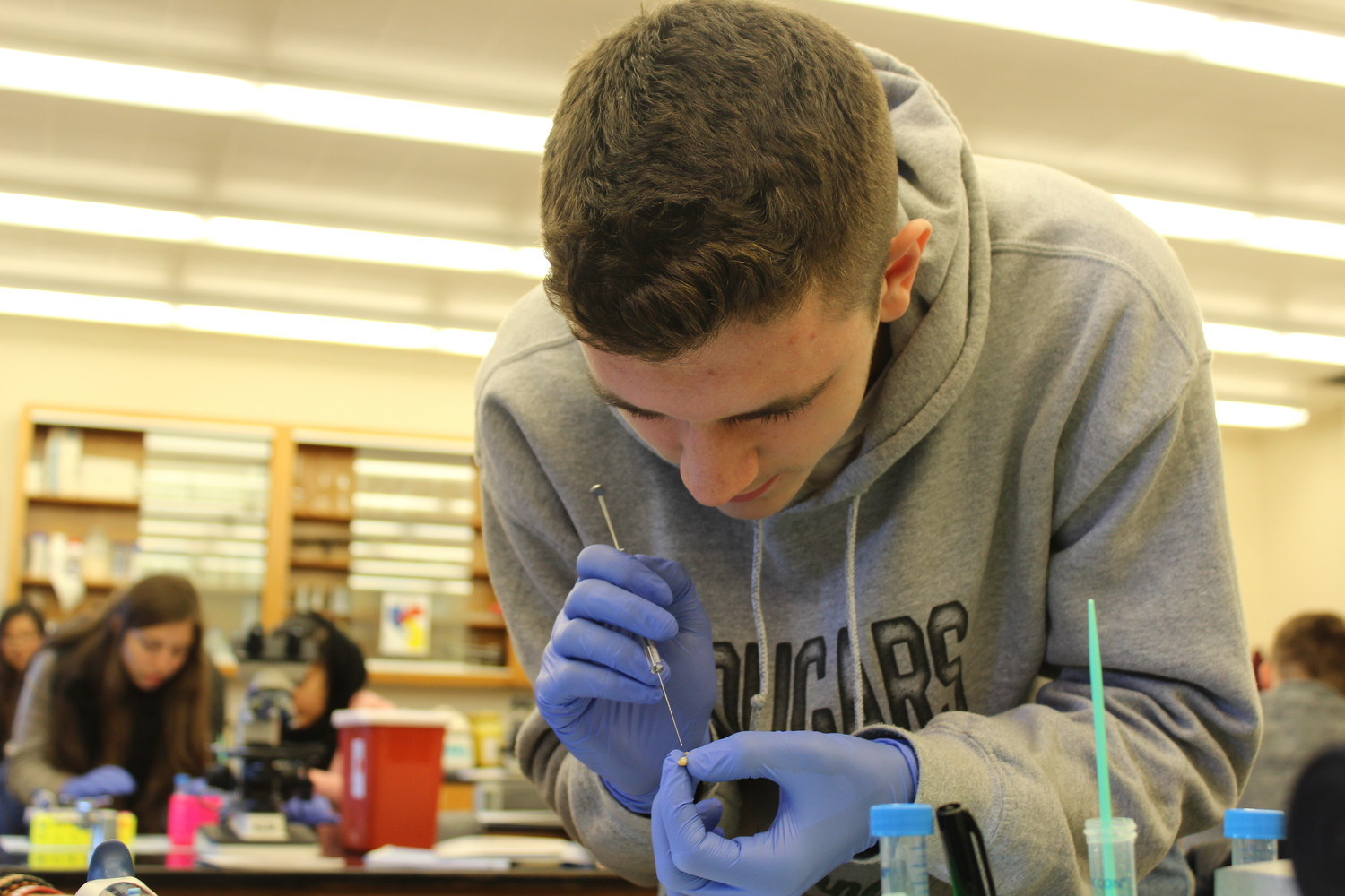 Liam Orr, a sophomore at Kennedy High School, took a crash course in clinical microbiology during the Bellmore-Merrick Central High School District's first Advanced Research Day at LIU Post. Liam injected a bacterium that causes meningitis into a wax worm.