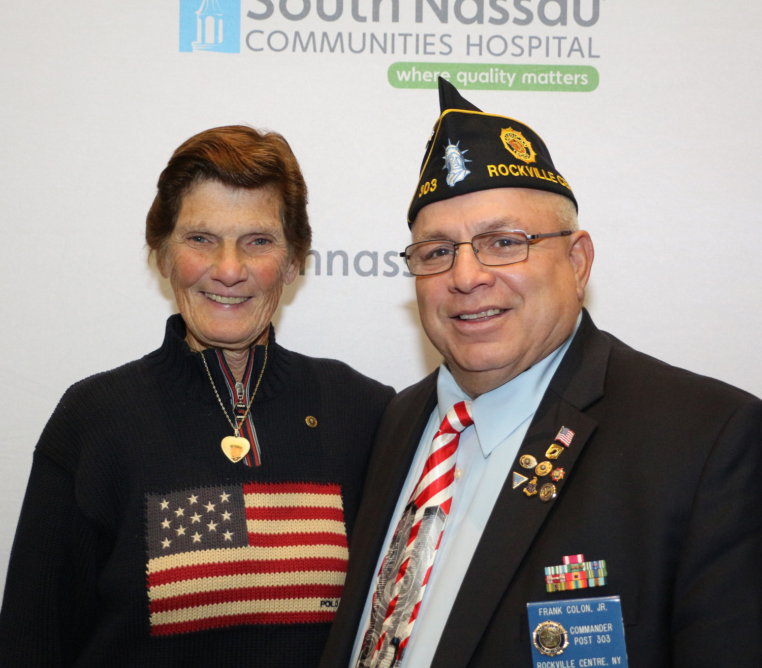 Gold Star mother Marianna Winchester and American Legion Post 303 Commander Frank Colon Jr. Winchester, an Oceanside Middle School Phys. Ed teacher, lost her son, Marine First Lt. Ronald Winchester, in 2004 during his second tour of duty in Iraq.