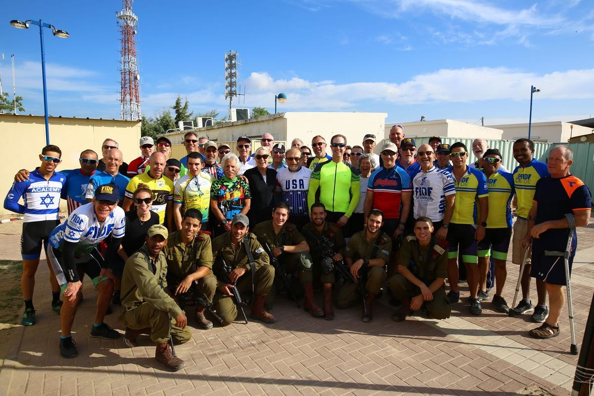 The cyclists and wounded veterans visited active-duty IDF paratroopers on their base near Israel's border with Gaza on Oct. 24.