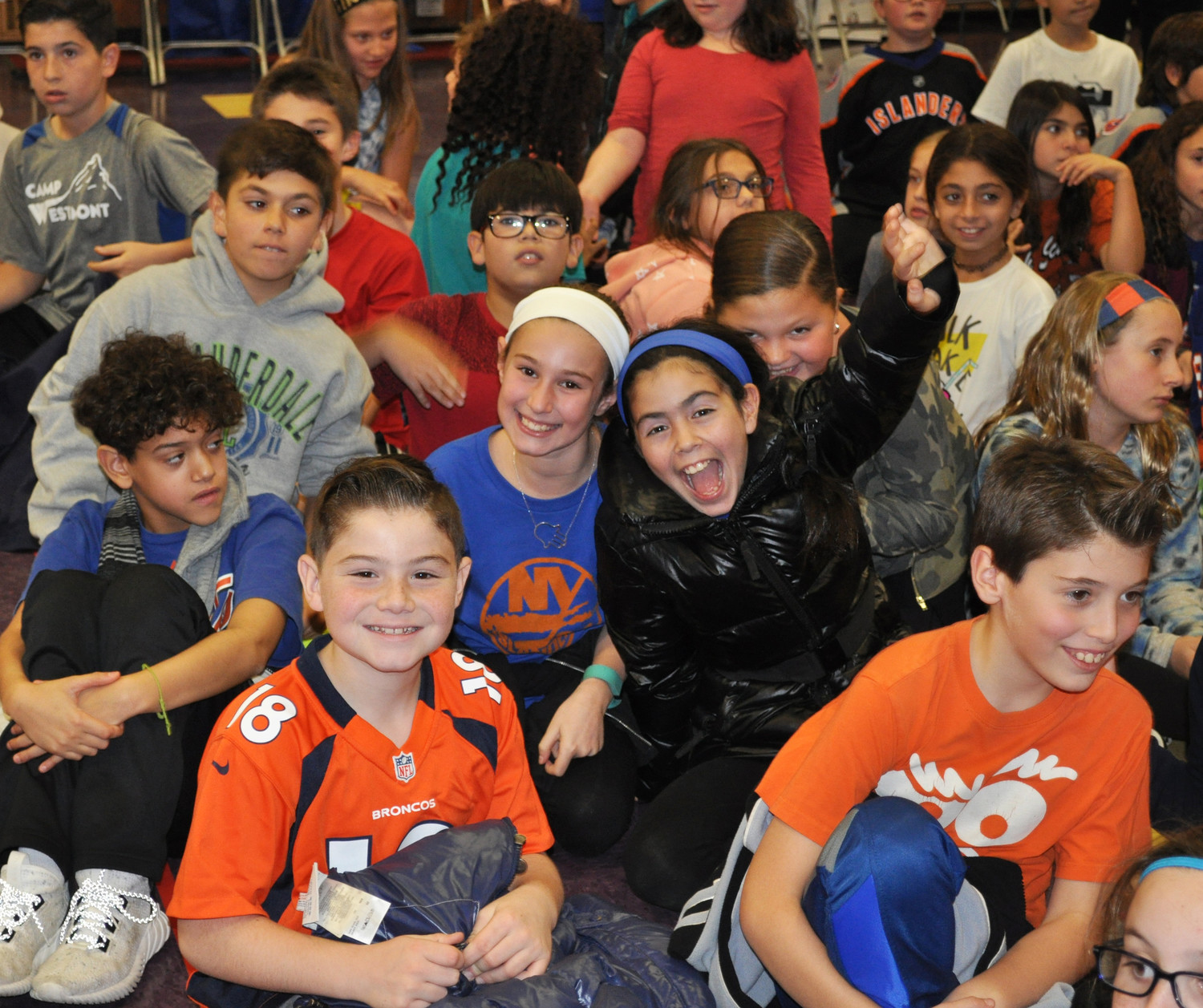 Students at Birch Elementary School in Merrick cheered with excitement as they waited for a chance to meet players from the New York Islanders. John Tavares, Jordan Eberle and Nick Leddy visited the school on Nov. 4 for Islanders School Day.