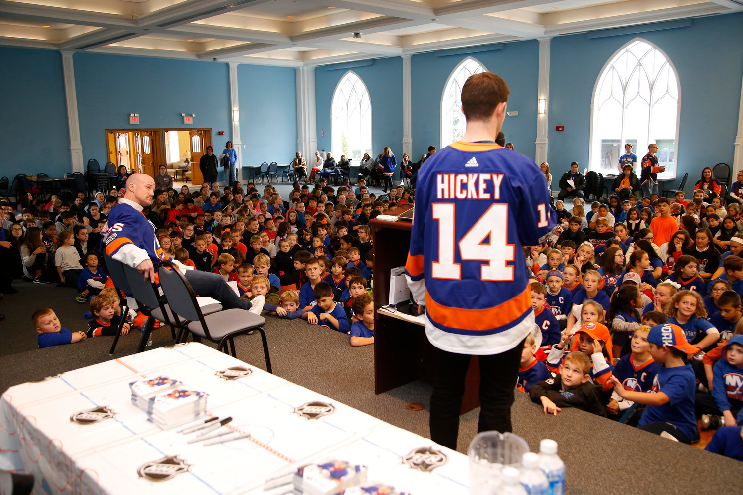 Hickey and Jason Chimera, left, fielded questions from the students.