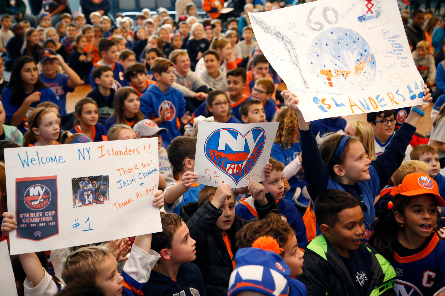 students at St. Agnes Cathedral School were excited to see players from the New York Islanders at their school.