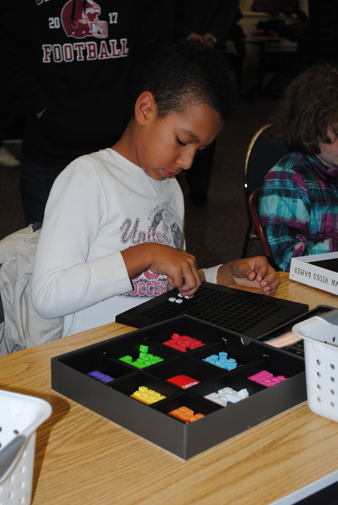 Joseph Leftwich, a fourth-grader at Landing, used Bloxels to design his own video game.