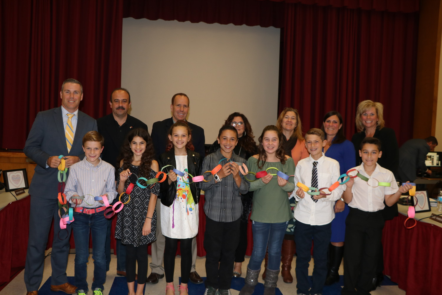 The North Merrick School Board, Student Council members from the three schools, and Superintendent of Schools Dr. Cynthia Seniuk