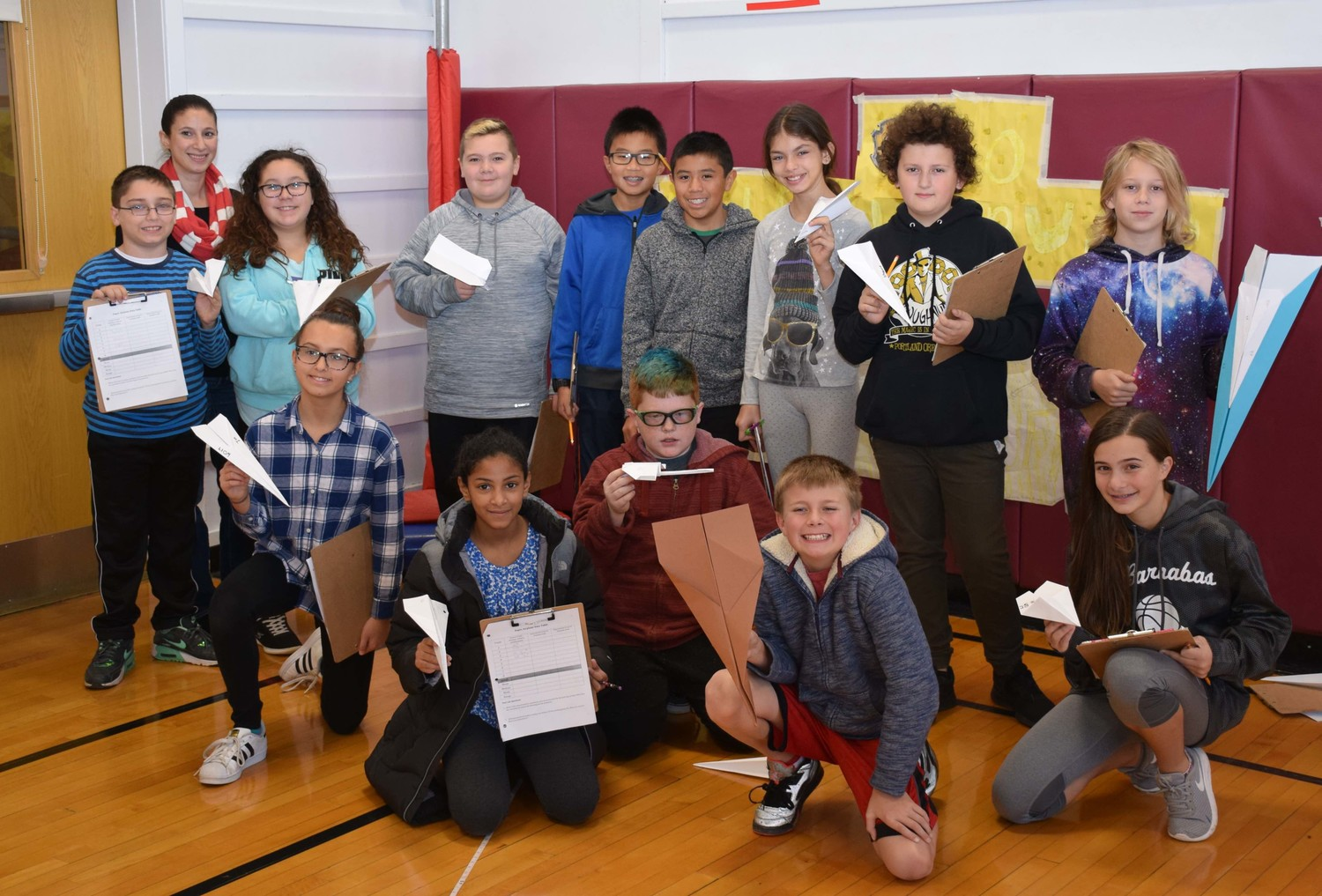 Sixth-graders in Stephanie Schwartz's class at Martin Avenue Elementary School designed and flew paper airplanes as part of a lesson on aerodynamics.
