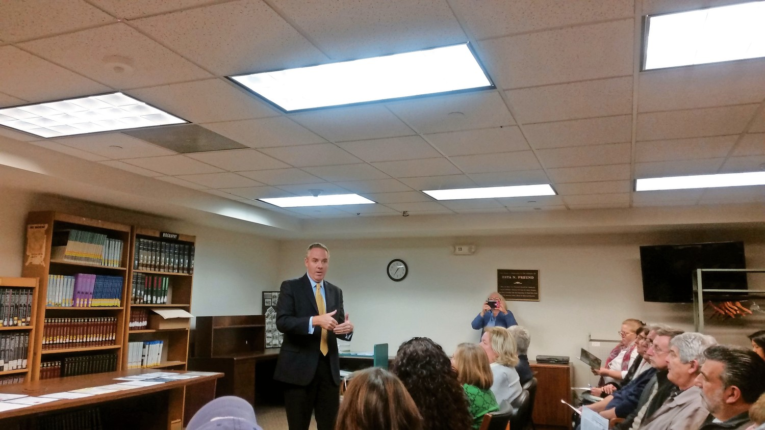 Town of Hempstead Receiver of Taxes Donald Clavin Jr. met with residents at a tax forum on Nov. 29.