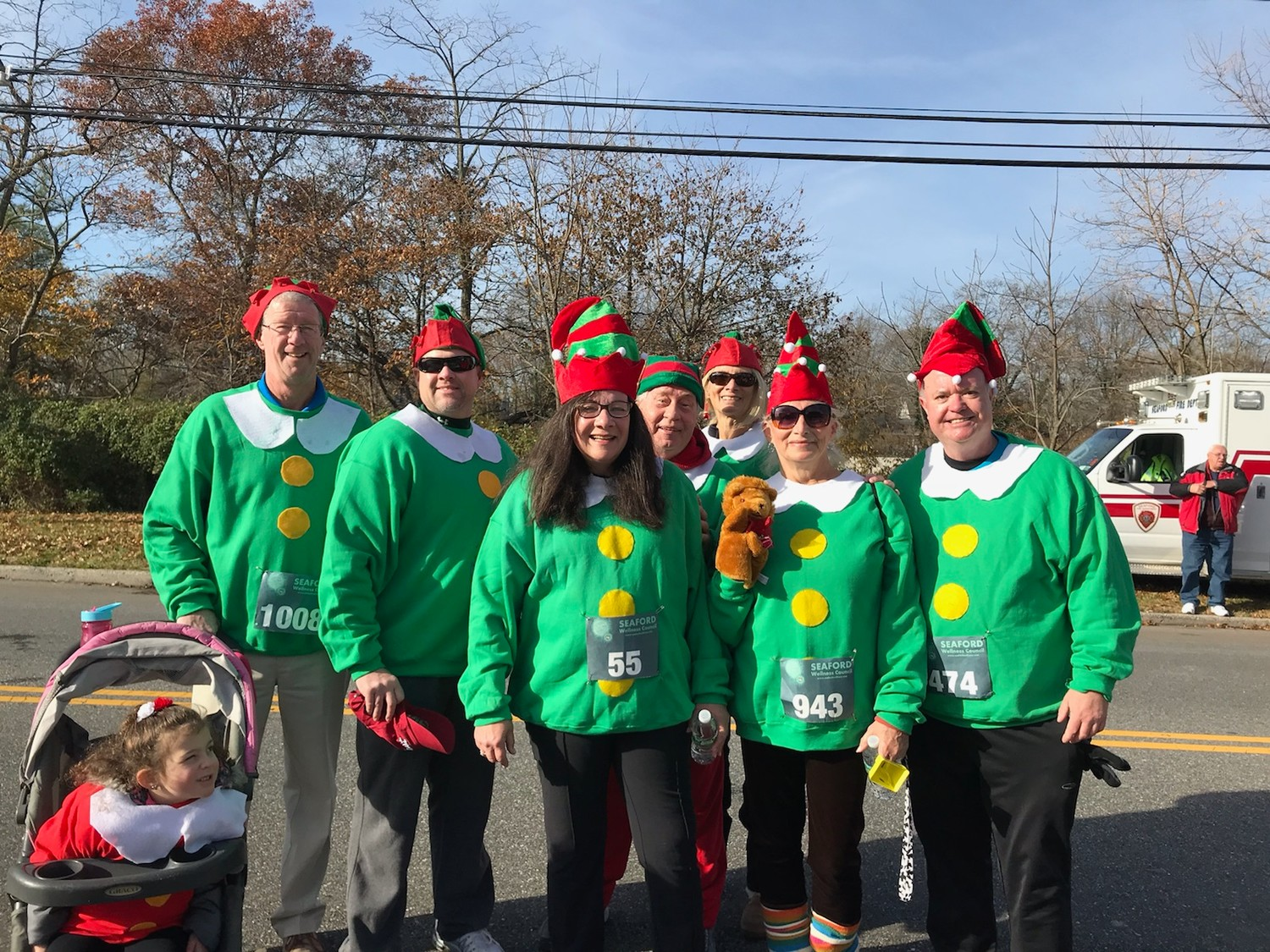 Members of the Seaford Lions Club dressed in festive costumes for the event. From left, George Brennan and his granddaughter Juliana, Mark Van Dusen, Virginia Boccio, Don Paulson, Nancy Kohler, Donna Kohler and Frank McKenna.