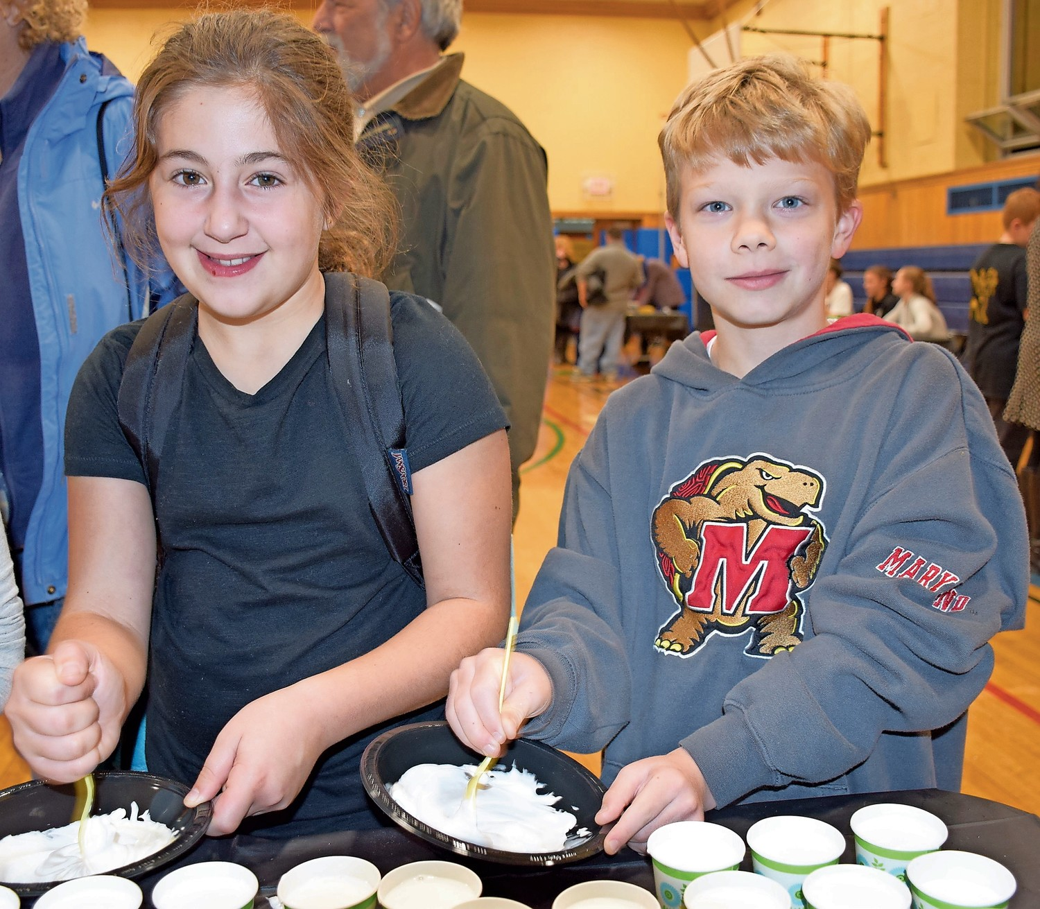 Wantagh Elementary School students Grace Bifone and Timothy Peragine made slime during the school's annual Maker Fair last month.
