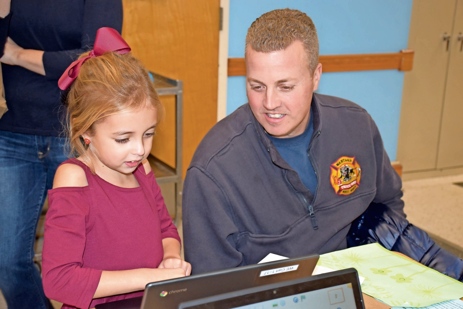 Adriana Nordquist and her father, Andrew, attempted some coding on the district's new Chromebooks during the Wantagh Elementary School Maker Fair.