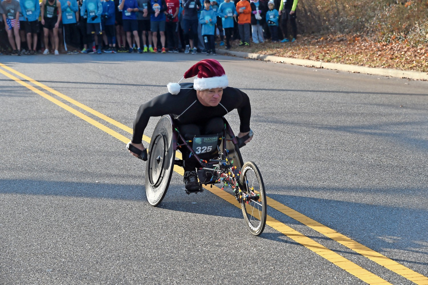 Peter Hawkins raced down Seamans Neck Road at the 14th annual Hot Chocolate 5K Run on Dec. 2.