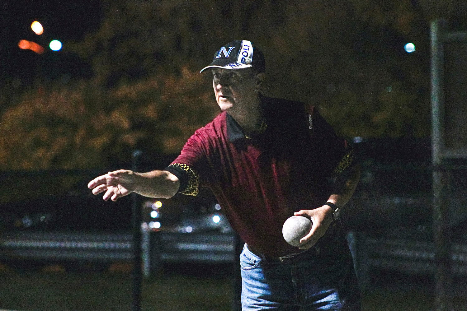 Sal Visone took a shot during the championship bocce match at Mill Dam Park in Huntington in October.