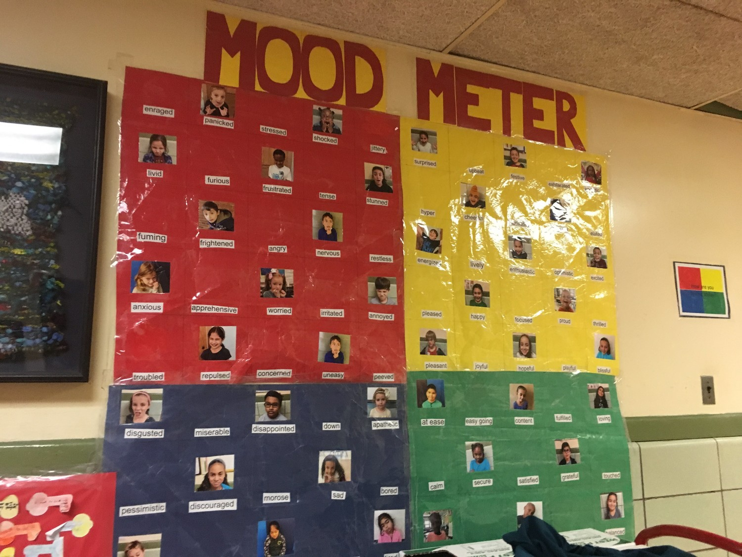 Students in District 13 developed a 'Mood Meter' to understand how they are feeling. One is on display at the James A. Dever School.