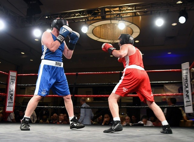 "Lynbrook resident Ed ""Formerly Fast Eddie"" Parry, 60, left, stepped into the ring to box Jeff ""The Tasmanian Devil"" Goldstein, 50, in the Long Island Fight for Charity event."