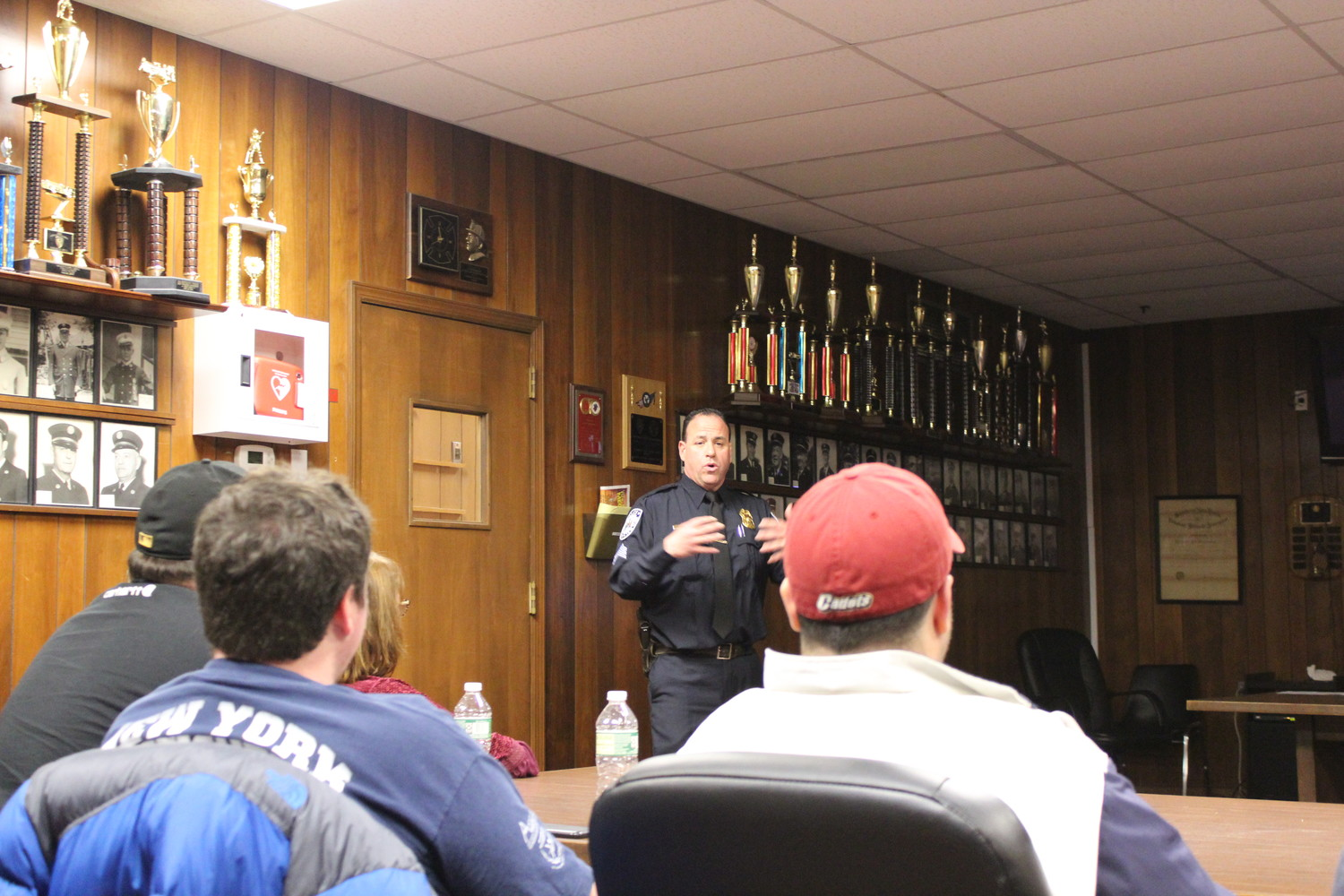 Sergeant Brian Paladino spoke to about 20 residents about how a Neighborhood Watch can prevent crime on Nov. 29.