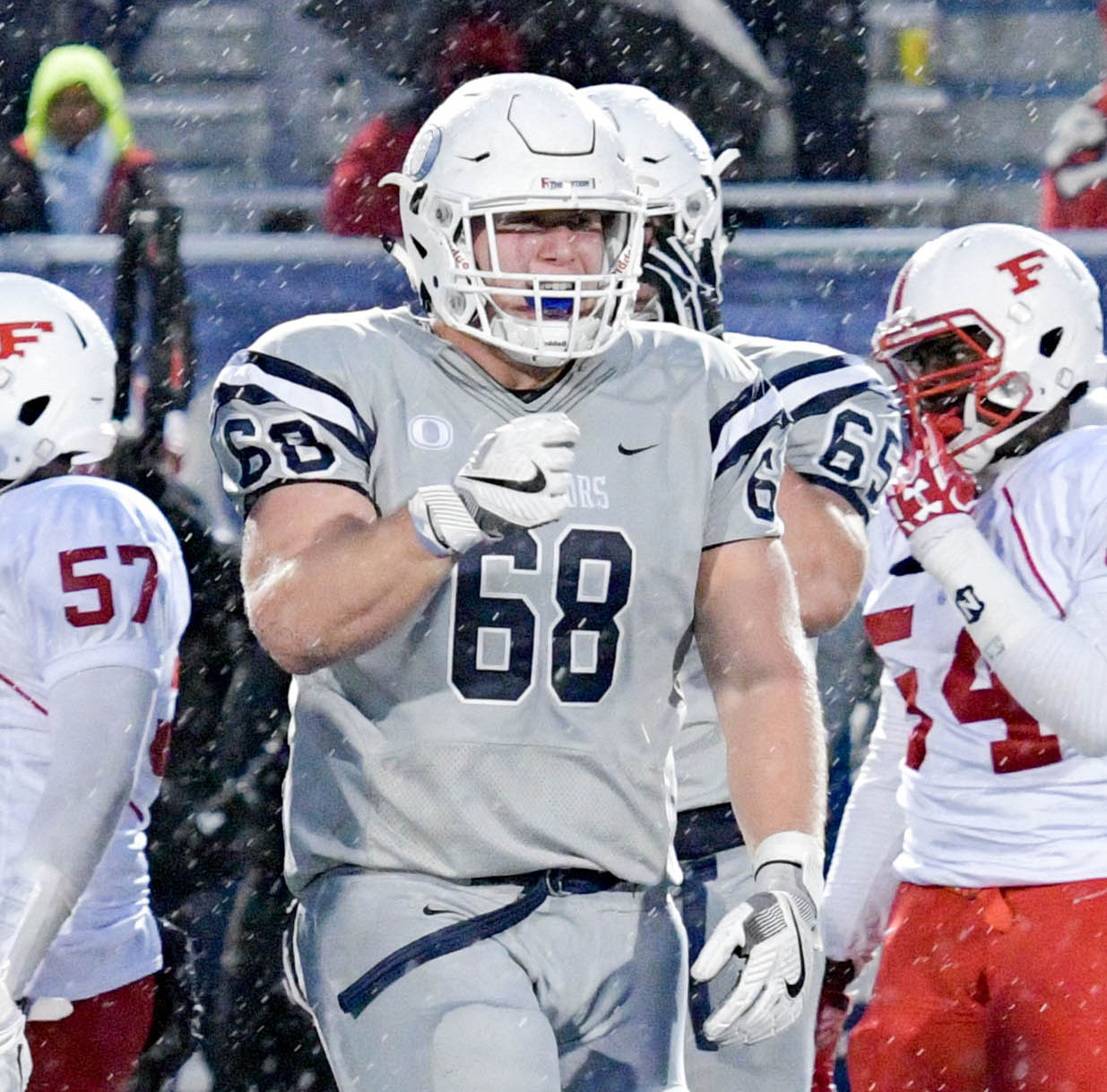 Senior Mike Scibelli, who had seven tackles and two sacks, was part of a lights-out defensive effort for the Sailors.