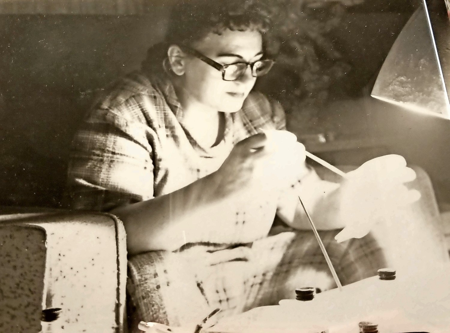 Charlie Franza snapped a photo of Nettie at her craft table in the 1960s.