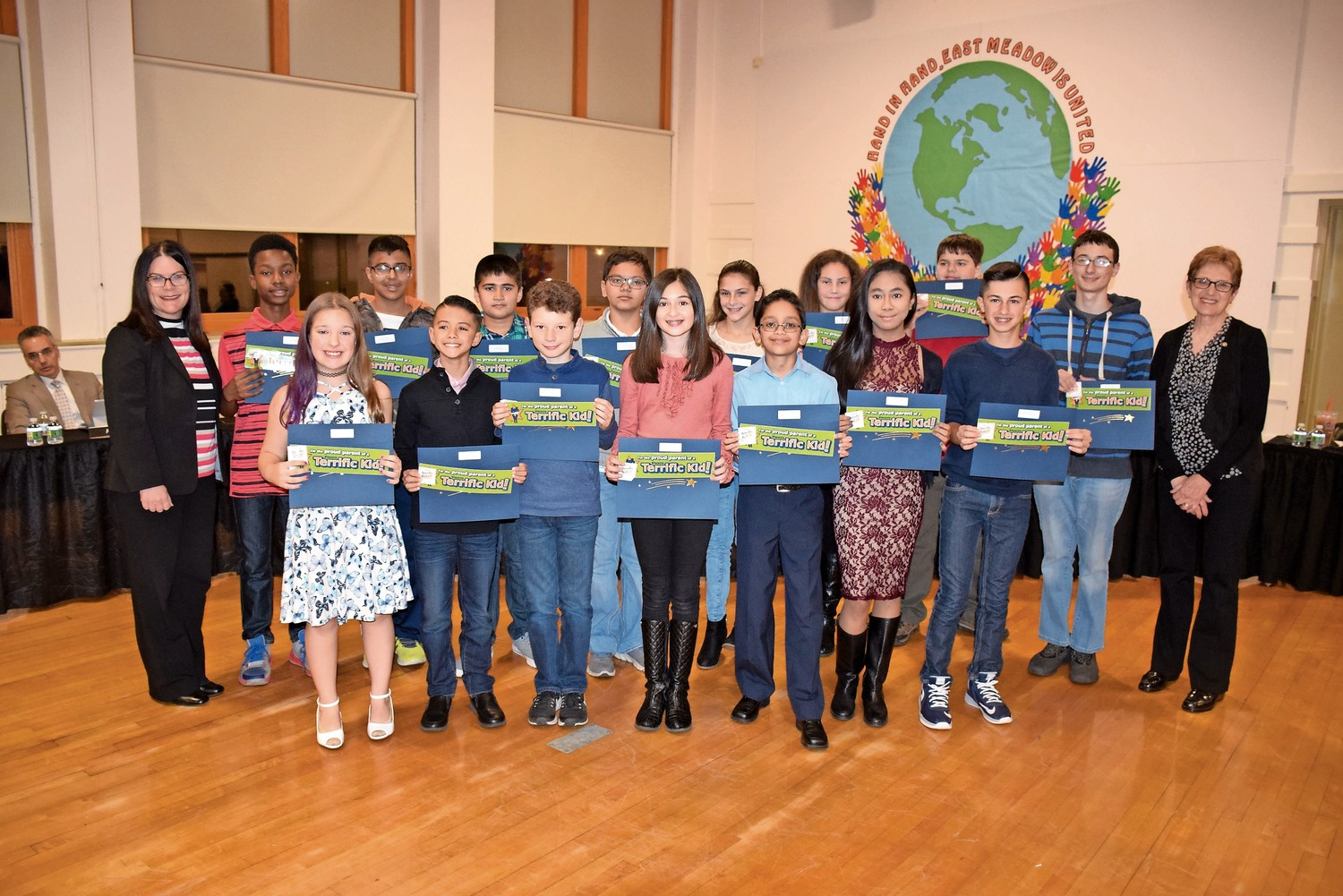 "During the Nov. 16 East Meadow Board of Education communication meeting, the board recognized W.T. Clarke Middle School's ""Terrific Kids"" for September, October and November."