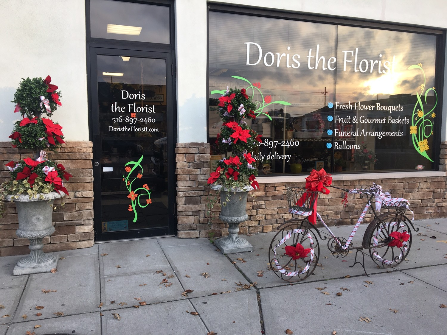 Decorative holiday floral arrangements at Doris the Florist.