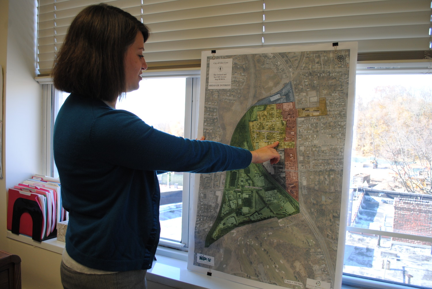 Community Development Agency Executive Director Ann Fangmann explained the map showing areas in Glen Cove where the Brownfield Opportunity Area grant will be used.