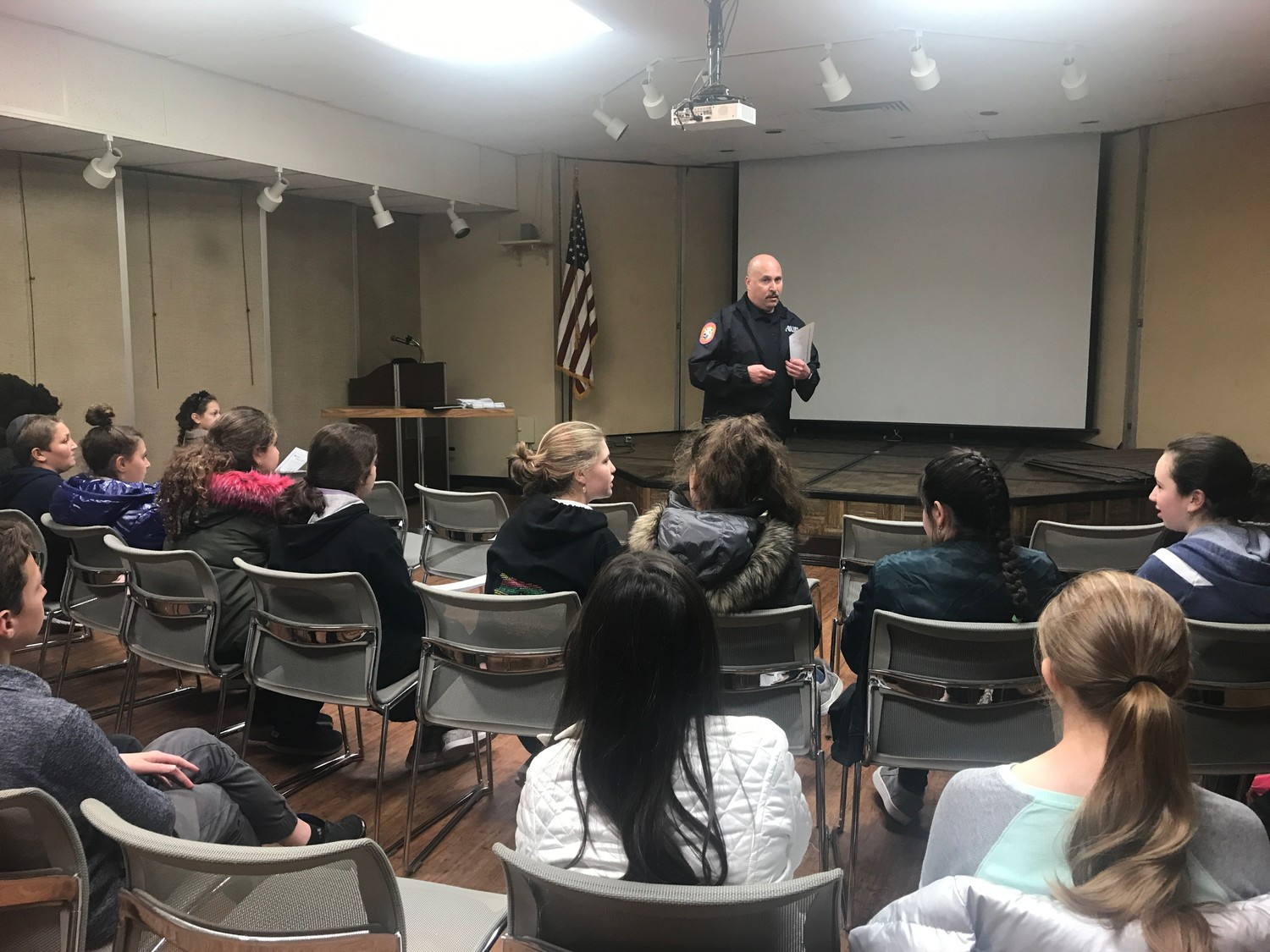 Police officer John Zanni answered questions from local teenagers at Peninsula Public Library who aim to work as babysitters in the Five Towns and surrounding communities.