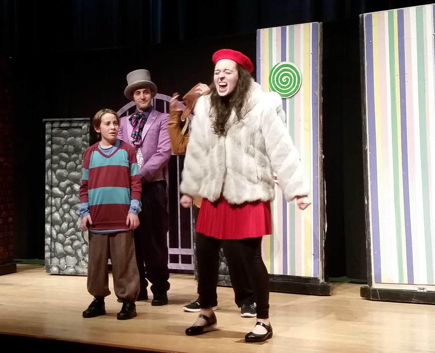 Spoiled brat Veruca Salt (Nicole Weitzman) threw a tantrum when she wanted one of Willy Wonka's golden geese in a show at the Hewlett-Woodmere Public Library on Nov. 24.