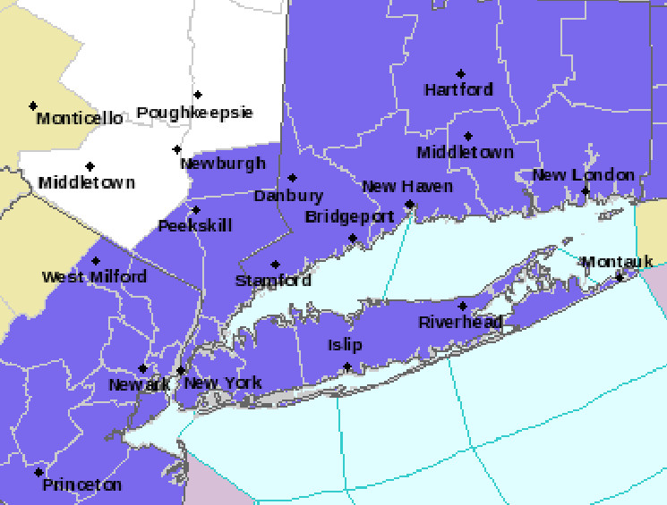 A Winter Weather Advisory was in effect for all of Long Island through Sunday morning.