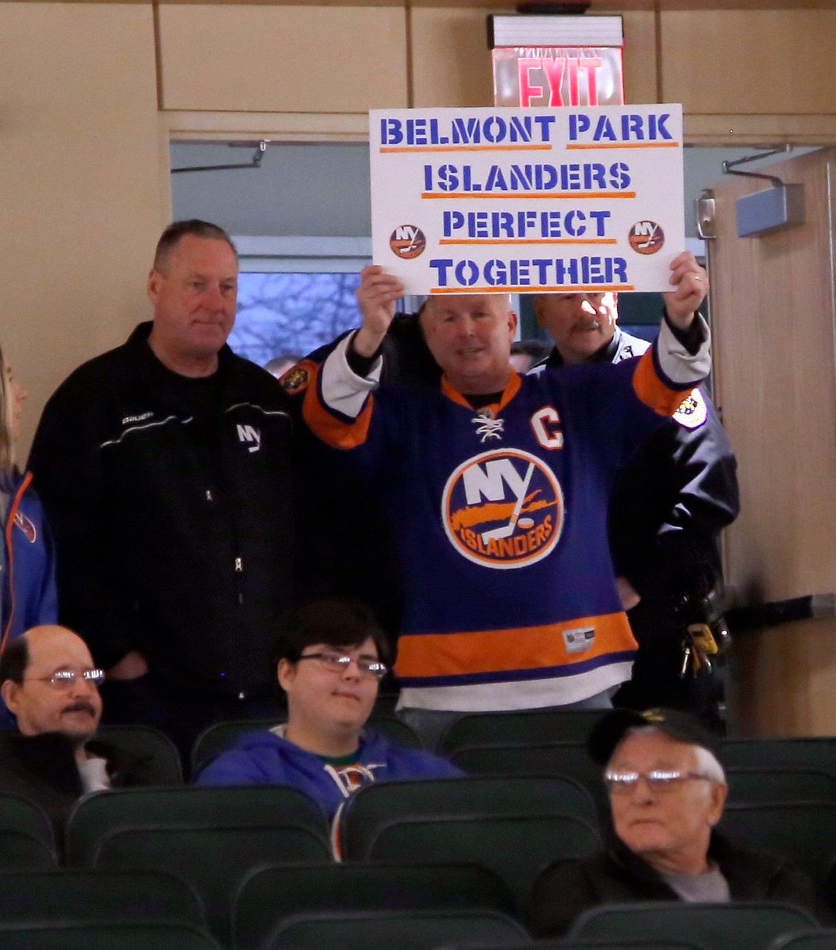 A number of attendees at Sunday's forum, at which Belmont Park plans were presented, questioned the need for a second stadium to house the New York Islanders, but others like this man clearly favored moving the Islanders to Belmont.