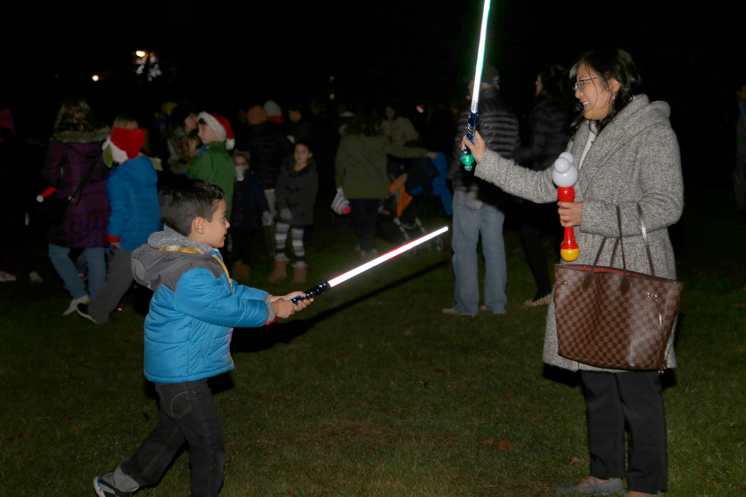 Five-year-old Aiden Deneen dueled with his mother, Lulu.