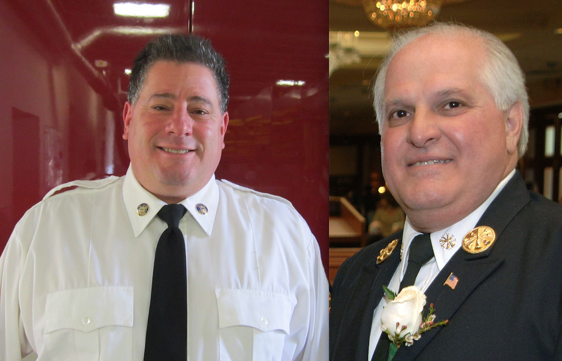 Challenger Frank Parise, right, defeated incumbent Mark Rolon, left, to become commissioner of the Inwood Fire District.