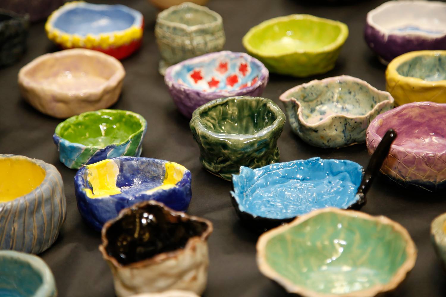 Students, staff and community members made ceramic bowls that were sold at the dinner.
