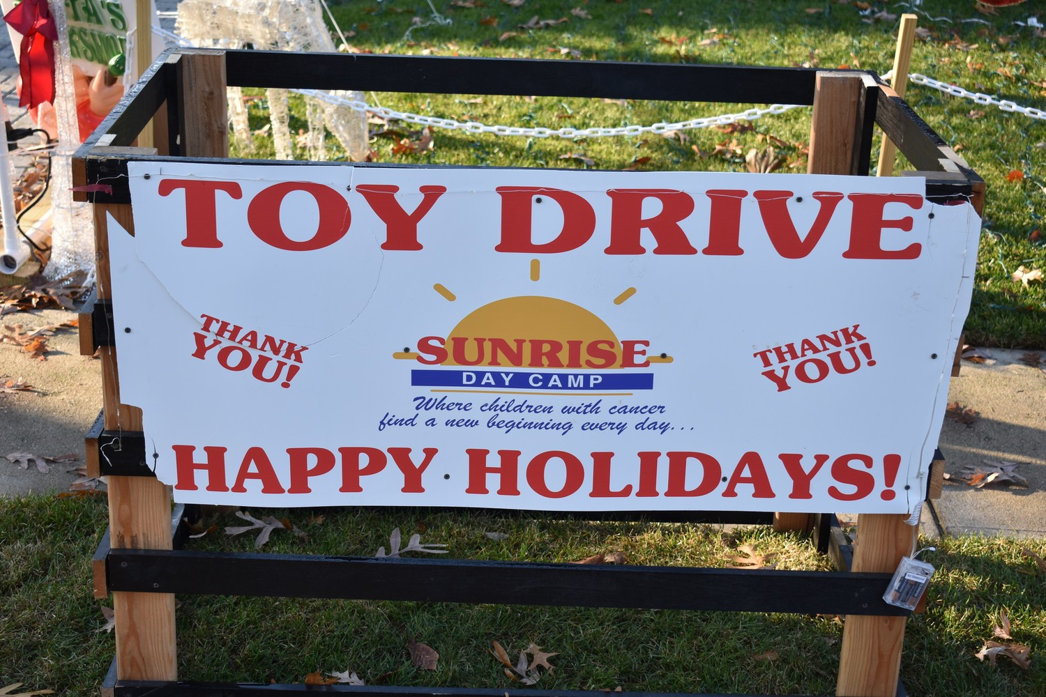 Residents are encouraged to bring new, unwrapped gifts to the curbside bin at 140 Cedar Ave. in Rockville Centre. They will be donated to children at Sunrise Day Camp.