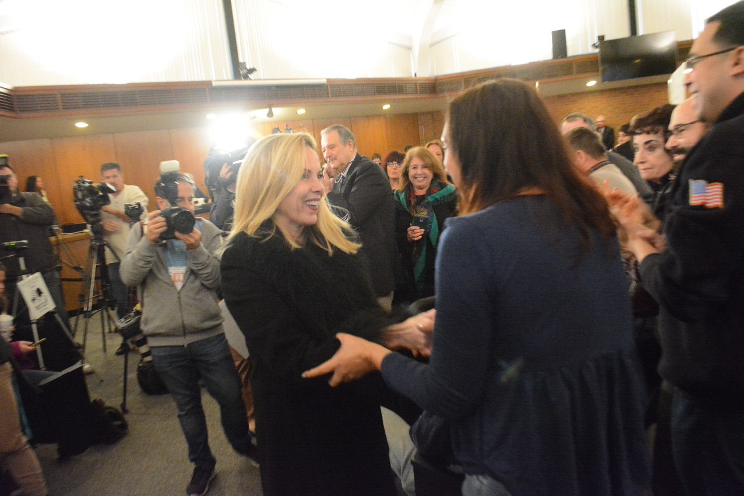 Town Supervisor-elect, Laura Gillen, was greeted by a standing ovation as she walked into the Hempstead Town Board Meeting on Tues. Dec. 12.